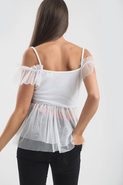 White Tulle Frill Detail Cold Shoulder Top - Remington