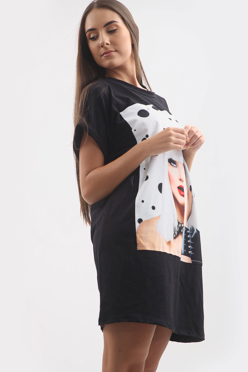 Black Poker Face Graphic Print T-Shirt Dress - Heidi - storm desire