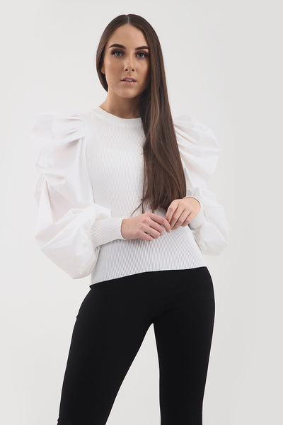 White Oversize Puff Sleeve Ribbed Top - Courtney