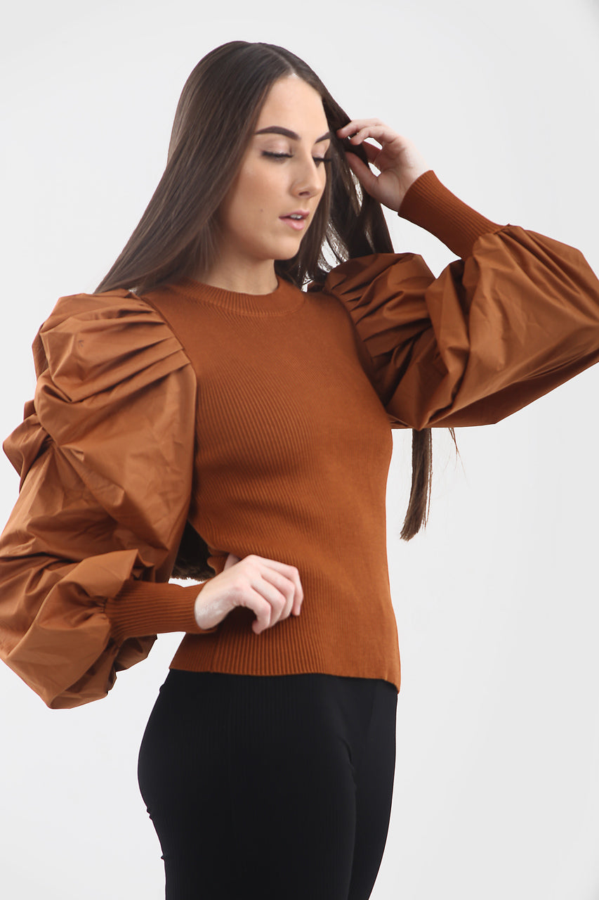Rust Oversize Puff Sleeve Shell Ribbed Top - Courtney