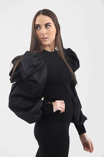 Black Oversize Puff Sleeve Ribbed Top - Courtney