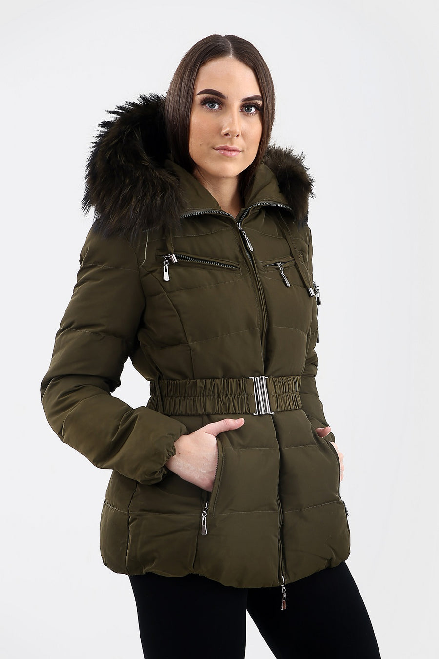 Khaki Green Quilted Green Fur Hood Belt Puffer Zip Jacket - Aria