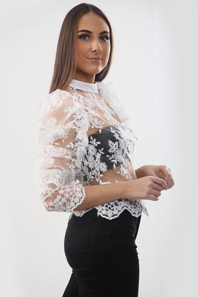 White Lace Mesh Bow Embroidery Blouse - Liane
