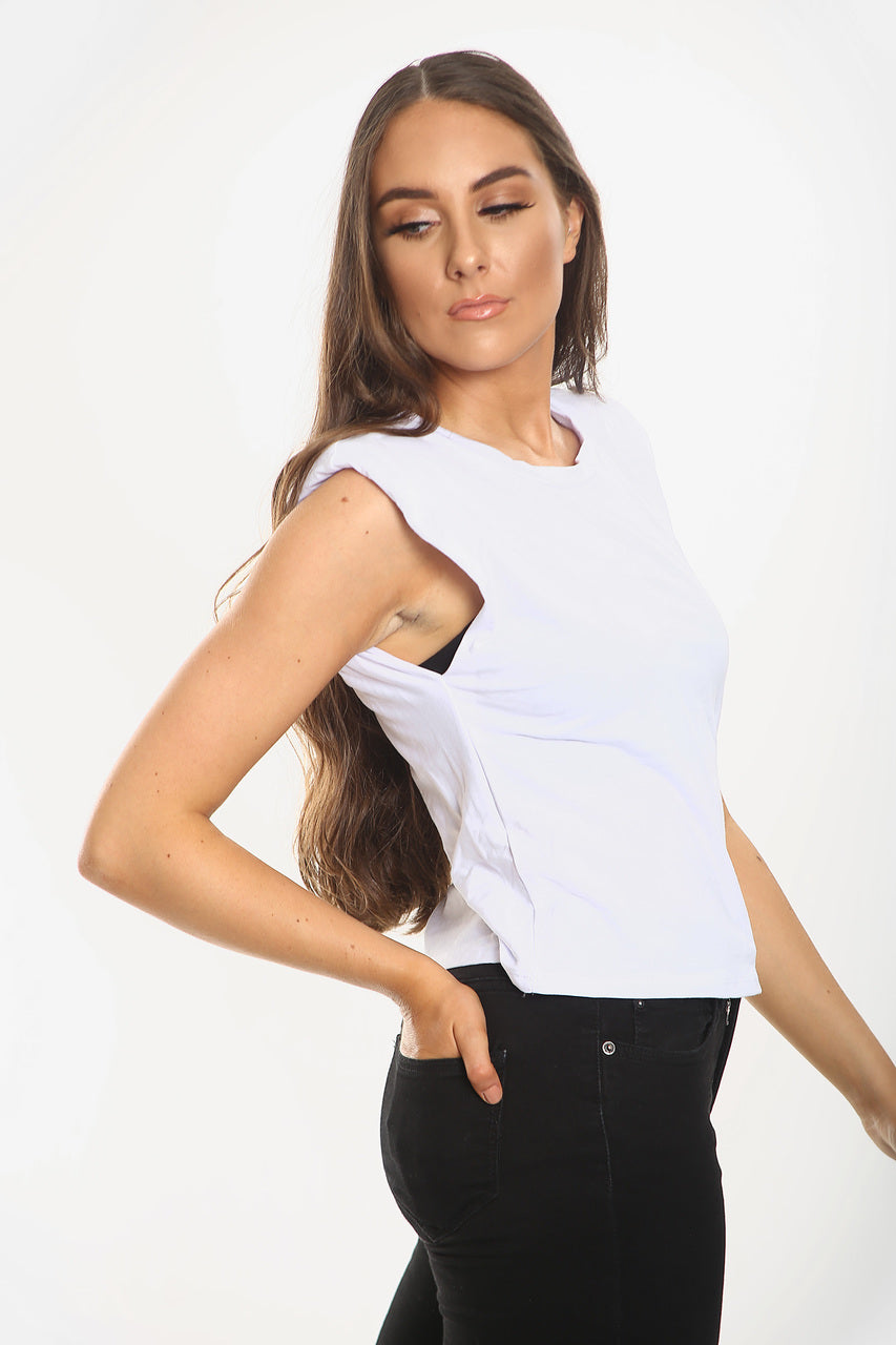 White Shoulder Pad T-shirt - Serenity