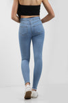 Light Blue Multi Slash Distressed Thread High Waist Jeans - Nyah