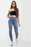 Mid Blue Multi Slash High Waist Jeans - Ava