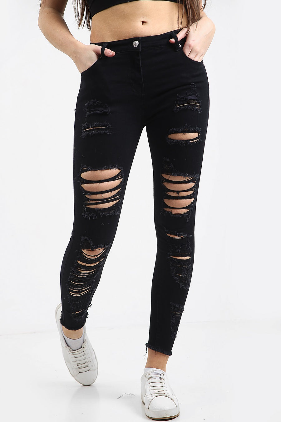 Black Multi Slash Distressed Thread High Waist Jeans - Nyah