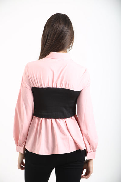 Baby Pink Elasticated Black Band Shirt - Hazel