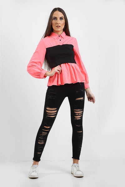 Bright Pink Elasticated Black Band Shirt - Hazel