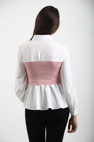 WHITE ELASTICATED PINK BAND SHIRT - HAZEL