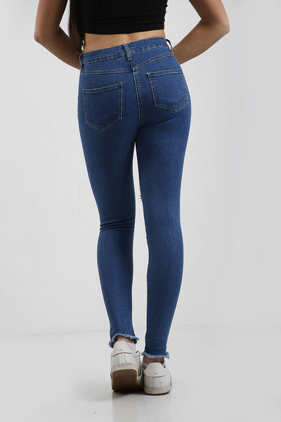 Denim Blue Multi Slash Distressed Thread High Waist Jeans - Nyah