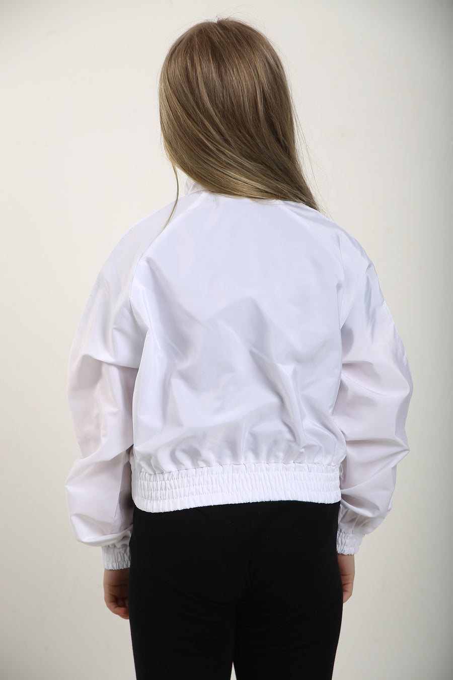 Kids White Festival Wind Breaker Crop Jacket - Emma