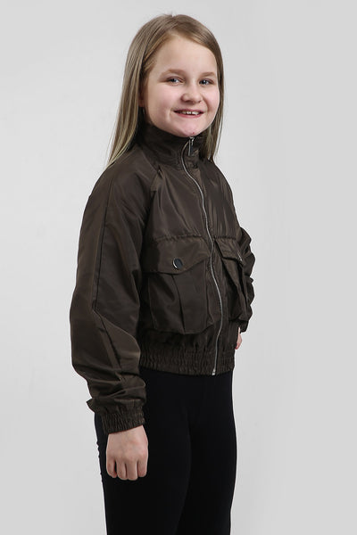 Kids Khaki Green Festival Wind Breaker Crop Jacket - Emma