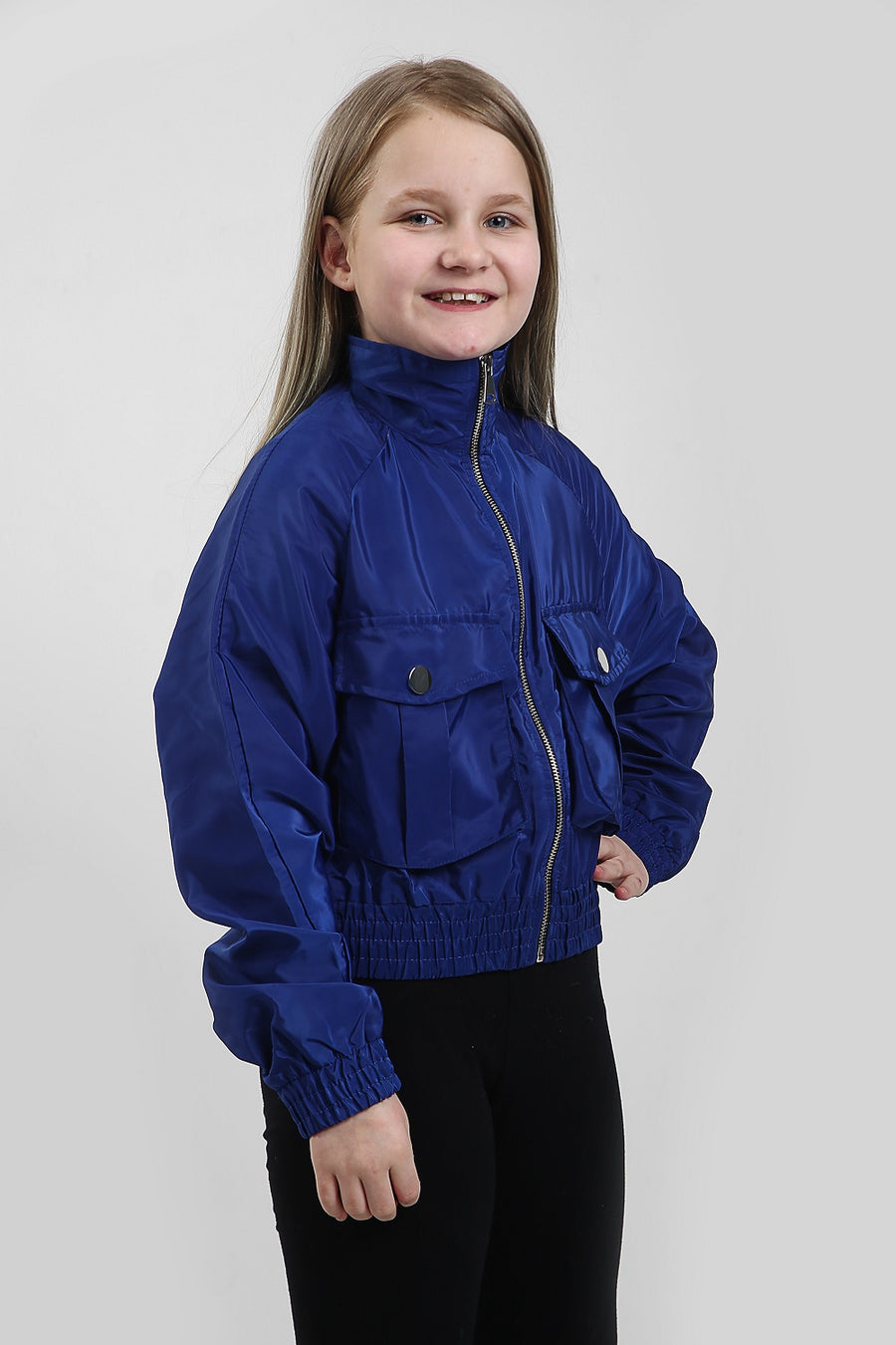 Kids Royal Blue Festival Wind Breaker Crop Jacket - Emma