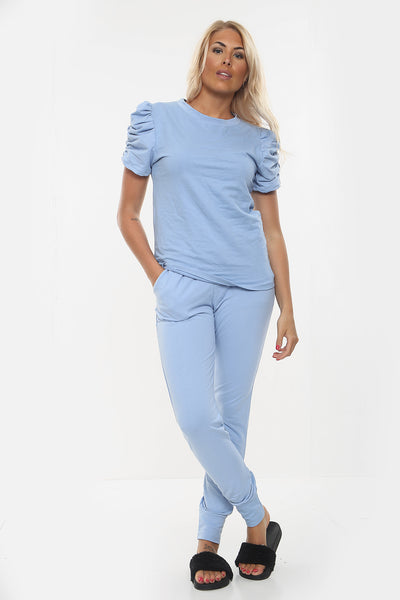 Blue Plain Puff Sleeve Lounge wear Set - Cora