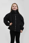 Kids Black High Neck Hooded Festival Jacket - Sarah