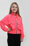 Kids Neon Pink Festival Wind Breaker Crop Jacket - Emma
