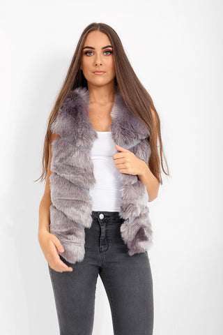 Naomi Faux Fur Panel Gilet - Grey - Storm Desire