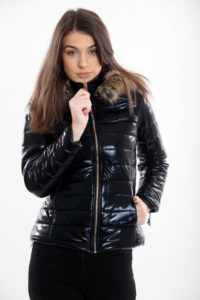 Black Shiny Wetlook Faux Fur Hood Puffer Jacket - Sophia - storm desire