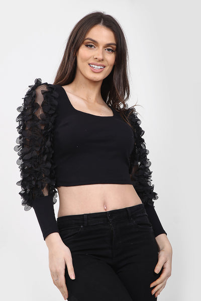 Black Ruffle Sleeve Cropped Top - Lucille