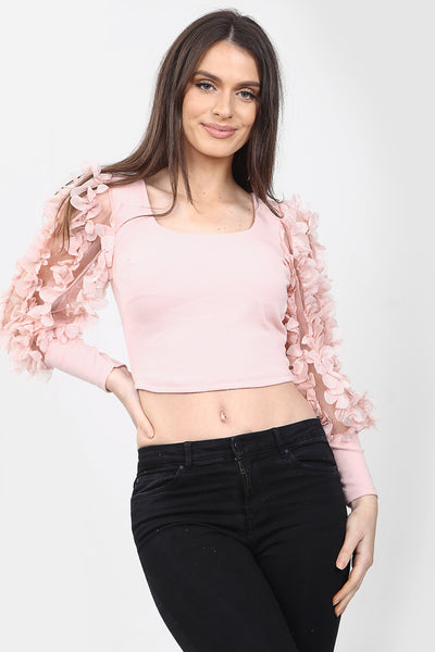 Pink Ruffle Sleeve Cropped Top - Lucille