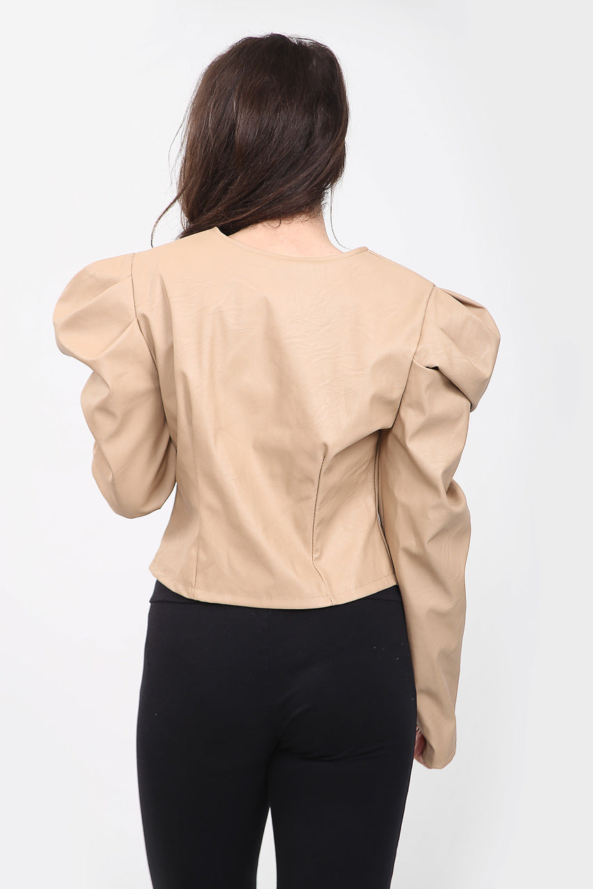 Light Beige Puff Sleeve Zip Faux Leather Jacket  - Mabel