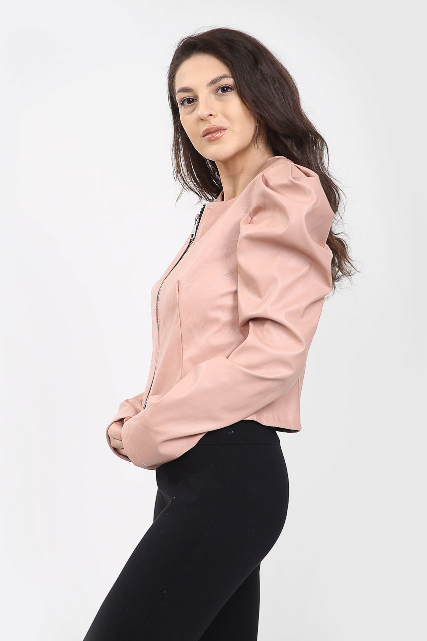 Pink Puff Sleeve Zip Faux Leather Jacket  - Mabel