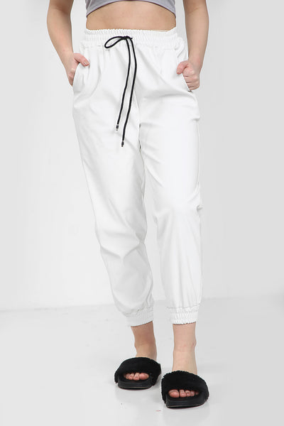 White Faux Leather Joggers - Bella