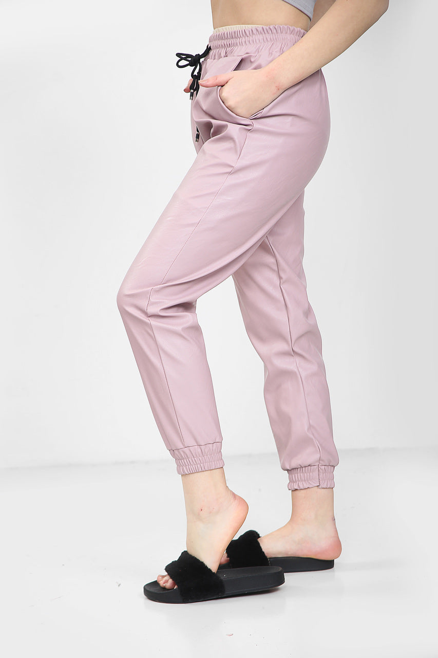 Pink Faux Leather Joggers - Bella