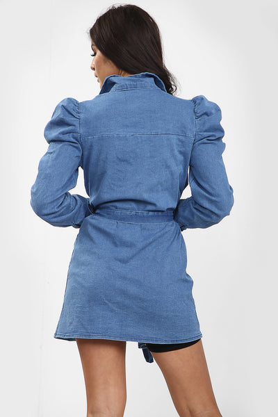 Back In Stock Denim Blue Puff Sleeve Denim Shirt Dress - Lola