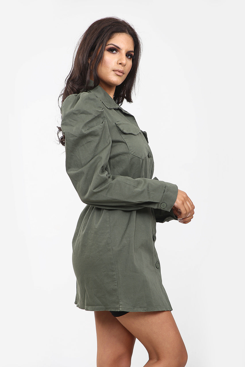 Khaki Green Puff Sleeve Denim Shirt Dress - Lola