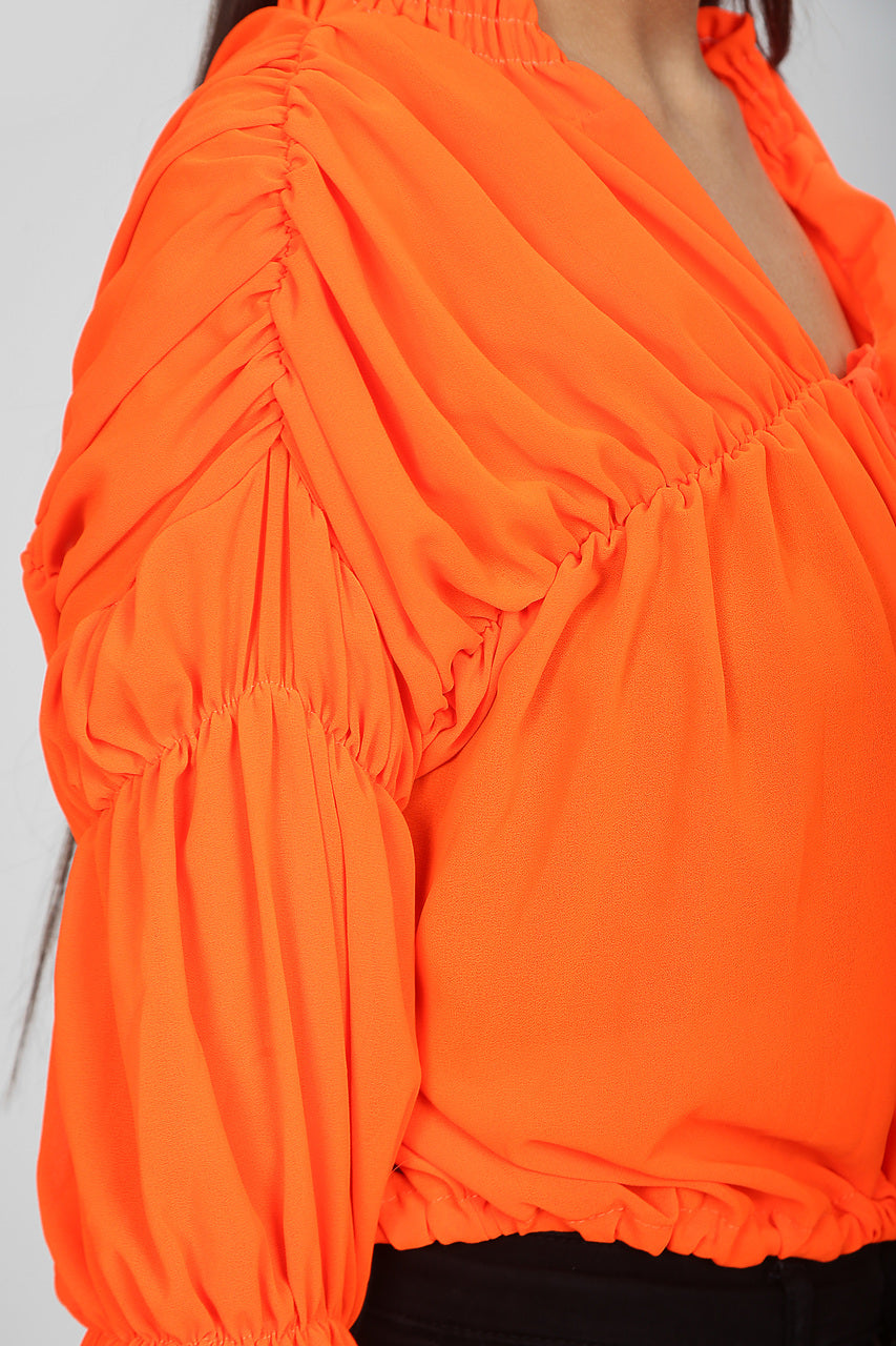 Neon Orange Senorita Chiffon Ruched Top - Evangeline