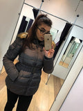 Dark Grey Belted Faux Fur Hood Quilted Puffer Jacket - Gracie - storm desire