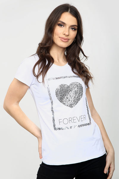 White Silver Sequin Heart T Shirt - Emily