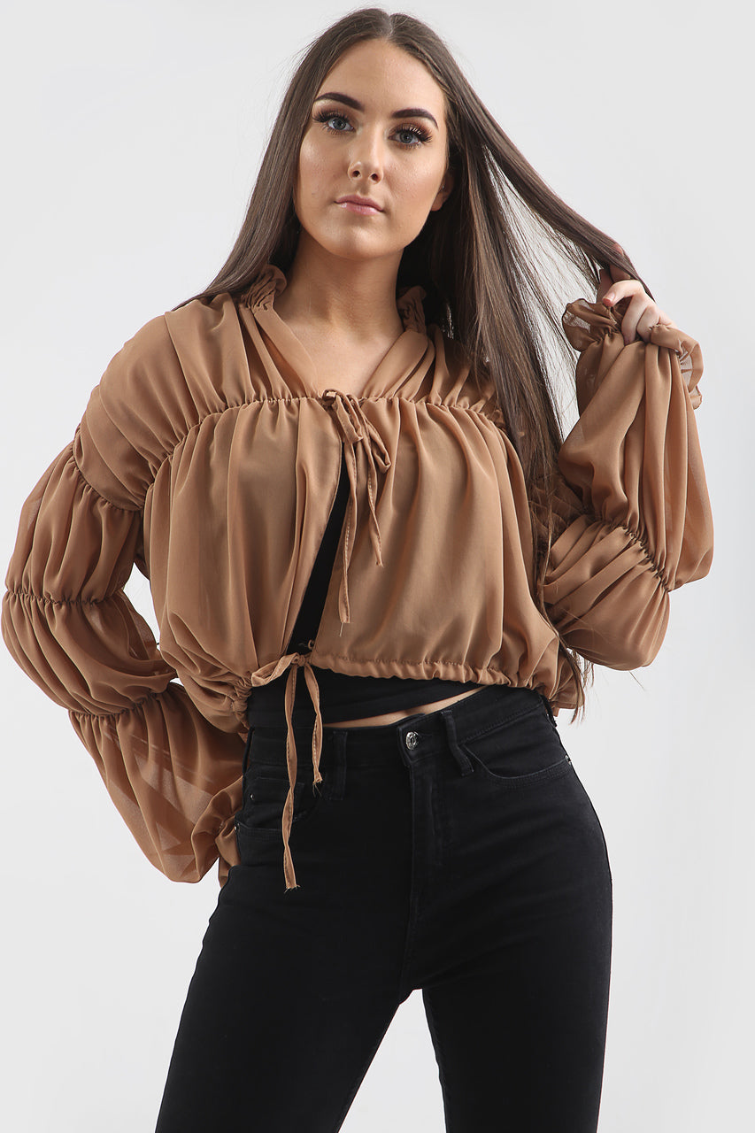 Brown Senorita Chiffon Ruched Top - Evangeline