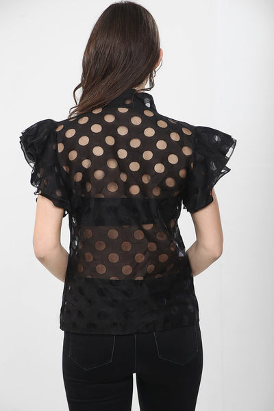 Black Frill Tie Neck Polka Dot Blouse - Leslie