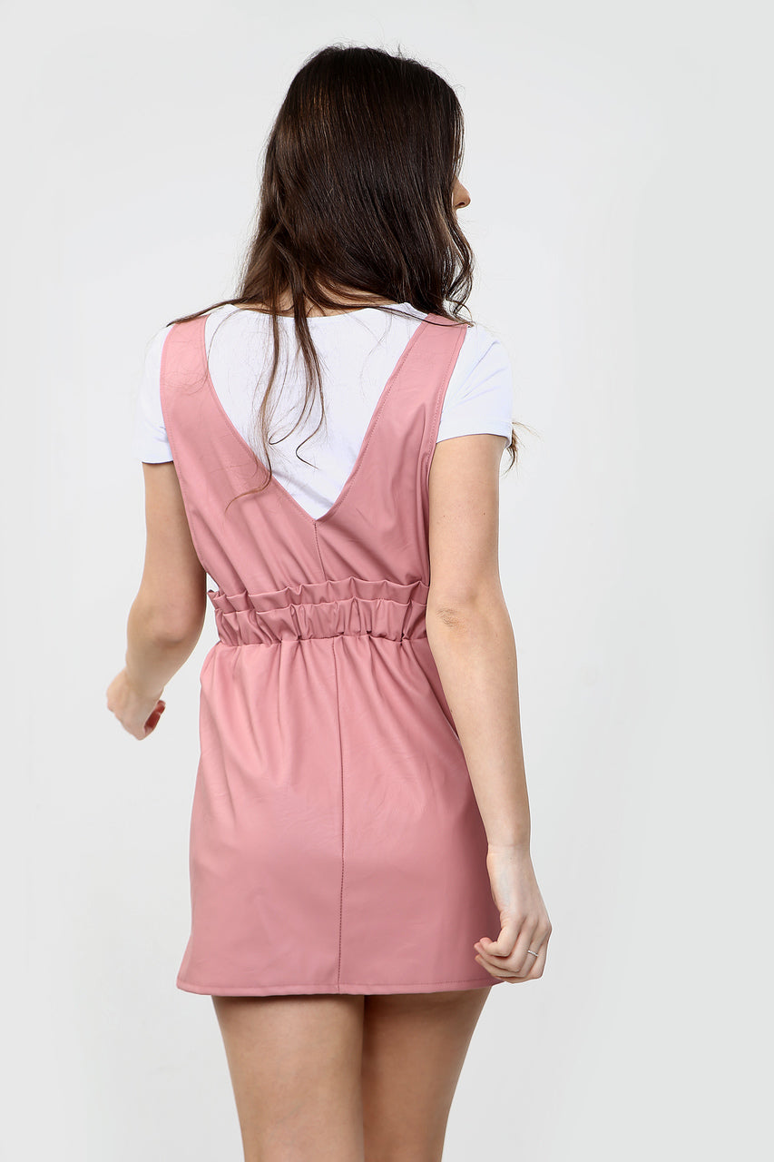 Dusky Pink Faux Leather Pinafore Dress - Callie