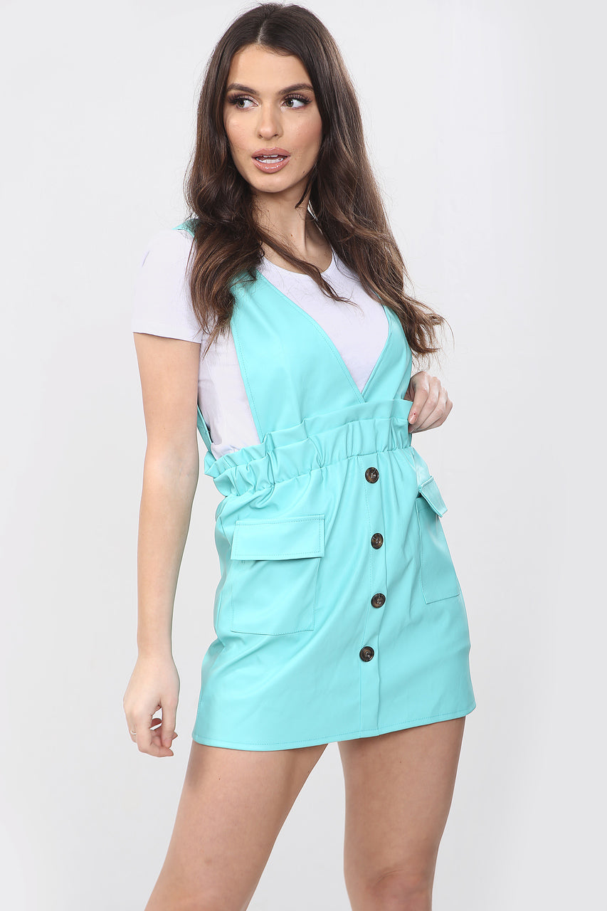 Mint Green Faux Leather Pinafore Dress - Callie