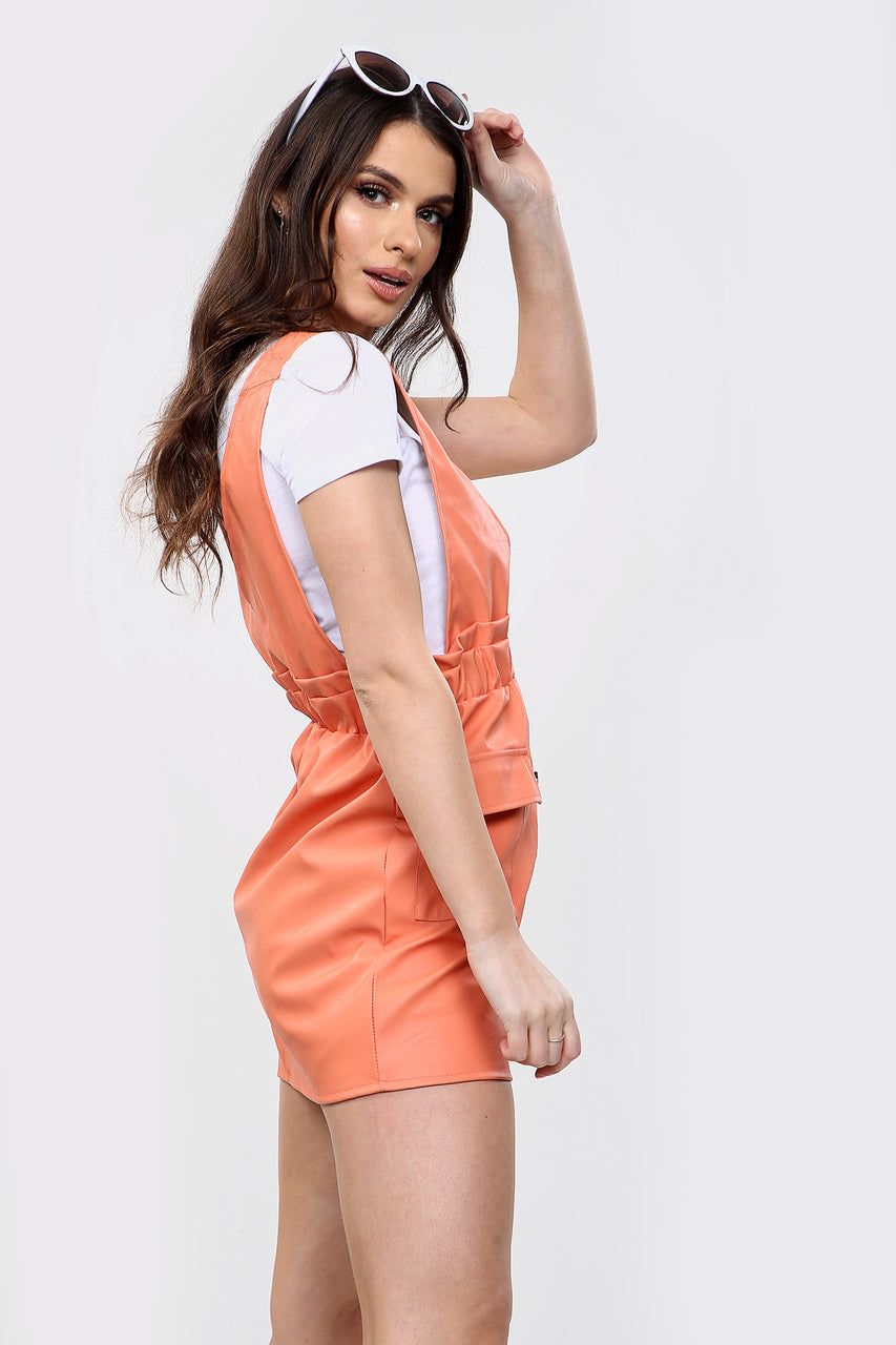 Orange Faux Leather Pinafore Dress - Callie