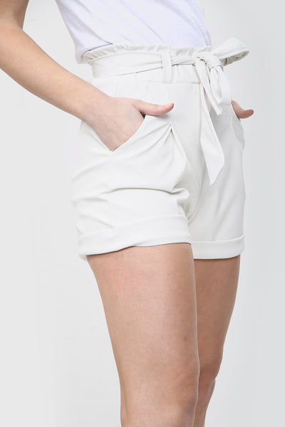 White Belted Faux Leather Turn Up Shorts - Ainsley