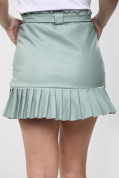 Mint Green Faux Leather Frill Belted Skirt - Miracle
