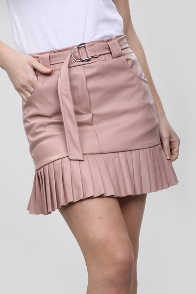 Dusky Pink Faux Leather Frill Belted Skirt - Miracle
