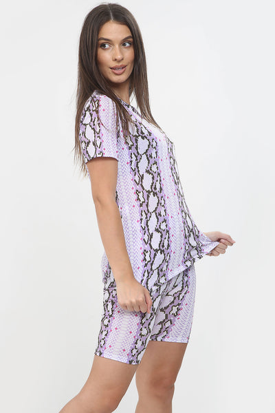 Purple Reptile Print Top & Shorts Set - Diana