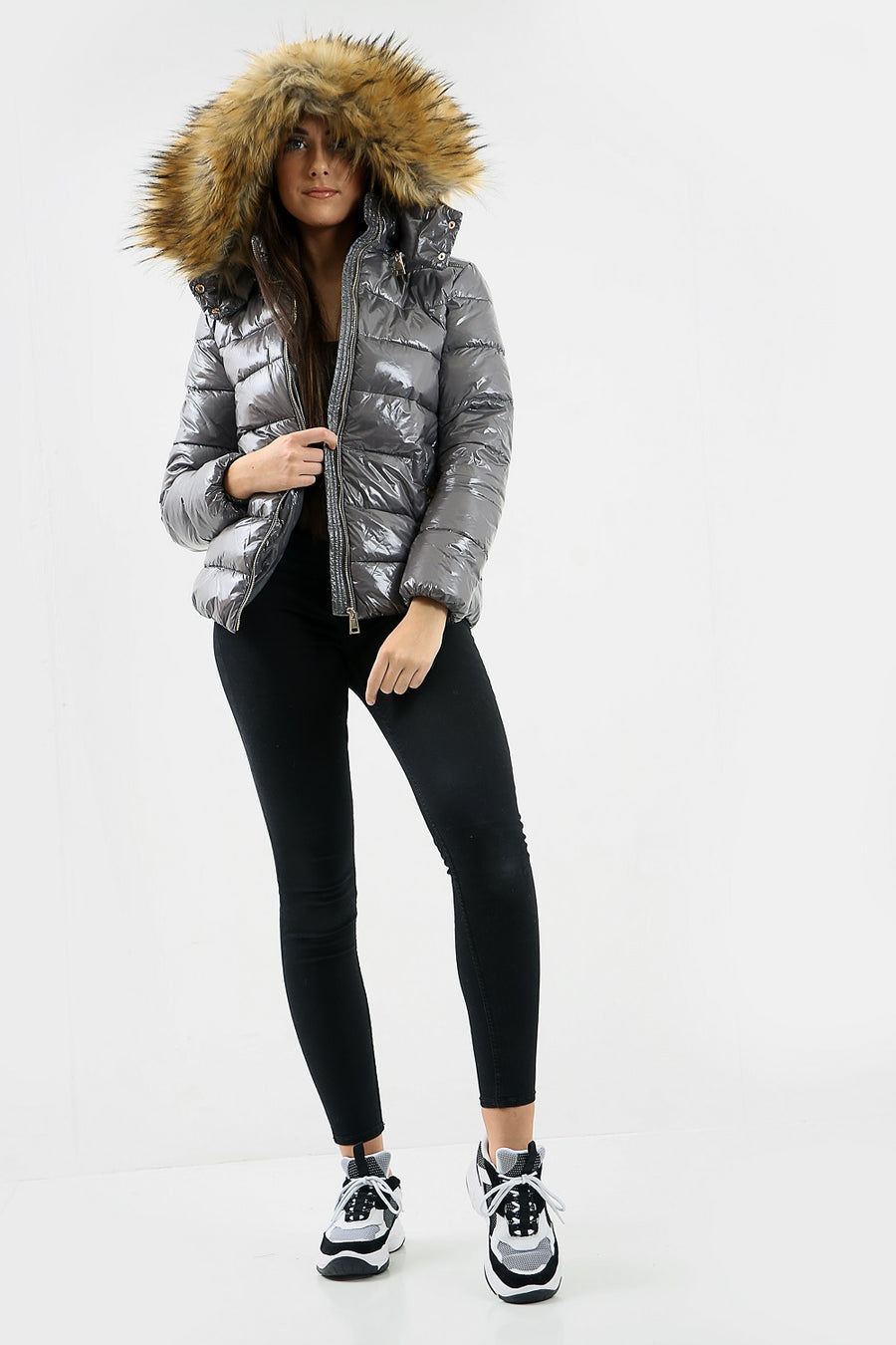 Grey Shiny Wetlook Chunky Faux Fur Hood Puffer Jacket - Zara
