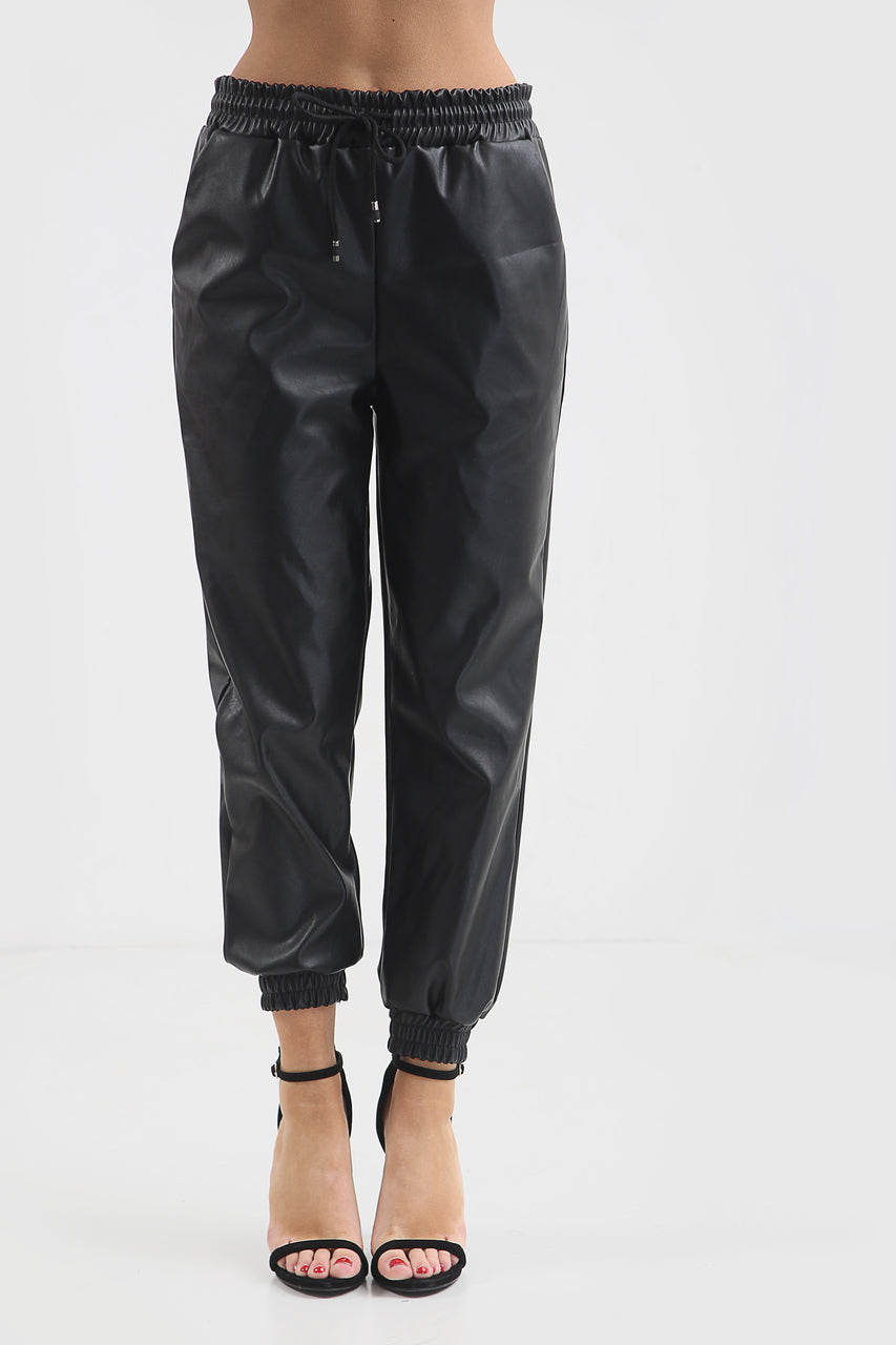Back In Stock Black Faux Leather Joggers - Bella