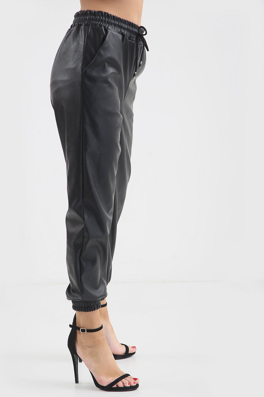 Black Faux Leather Joggers - Bella - storm desire