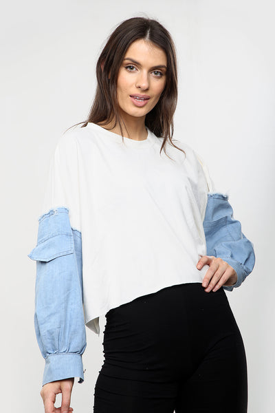 Off White Oversize Jersey Batwing Baggy Top - Azalea