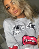 Grey Monster Jaw Printed Sweatshirt Jumper - @mhairimcleann