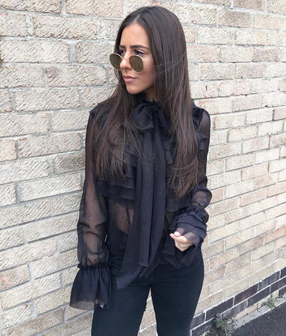 Black Chiffon Ruffle Bow Frill Trim Blouse Top - @helennn.x