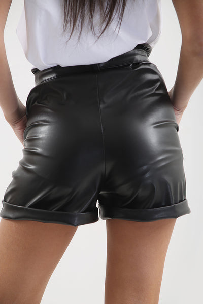 Black Belted Faux Leather Turn Up Shorts - Ainsley
